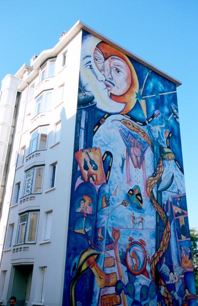 La Cité idéale du Mexique par Marisa Lara et Arturo Guerrero. Mur peint n°21 Musée Urbain Tony Garnier © R. Schleipman / RAT