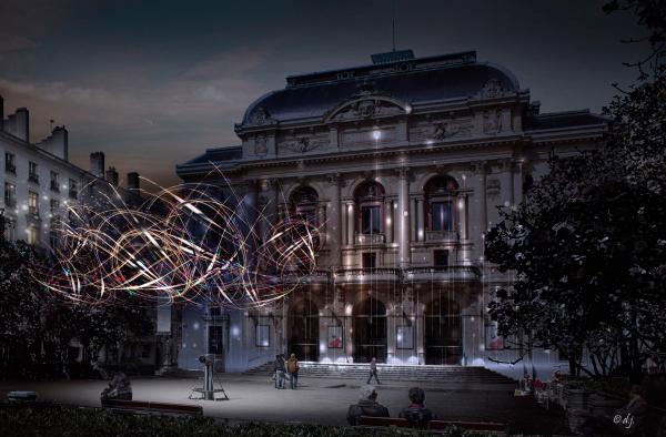 Fête des Lumières 2019 - Lightning Cloud, Place des Célestins © Jérôme Donna, Direction de l'Eclairage Urbain ville de Lyon