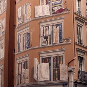 Mur peint de la bibliothèque © Julia Bidault